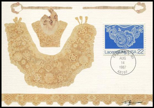 2351 - 2354 / 22c Lacemaking Set of 4 American Folk Art Series 1987 Fleetwood First Day of Issue Maximum Card