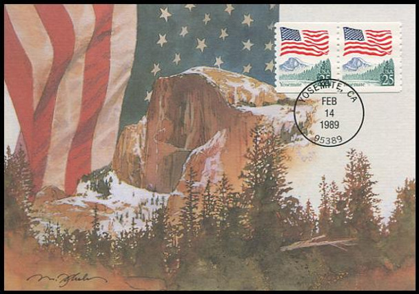 2280a / 25c Flag over Yosemite Coil Pair 1989 Fleetwood First Day of Issue Maximum Card