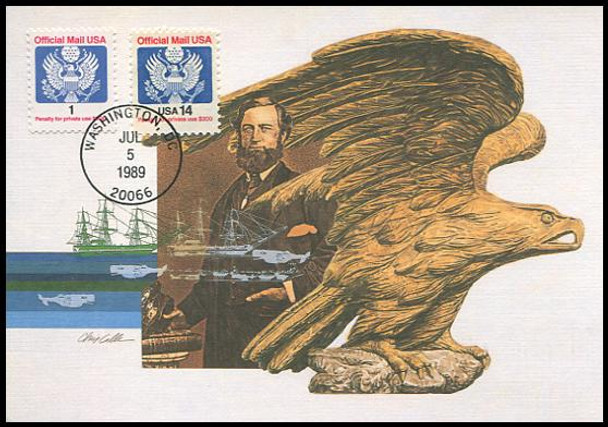 O143 / 1c Official Mail Eagle 1989 Fleetwood First Day of Issue Maximum Card