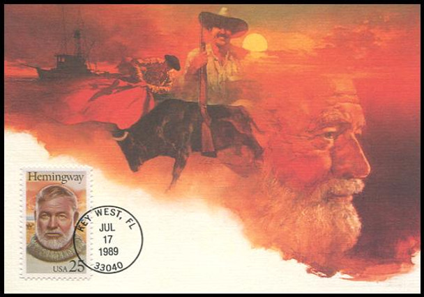 2418 / 25c Ernest Hemingway Literary Arts Series 1989 Fleetwood First Day of Issue Maximum Card