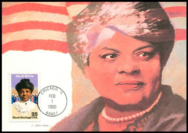2442 / 25c Ida B. Wells Black Heritage Series 1990 Fleetwood First Day of Issue Maximum Card