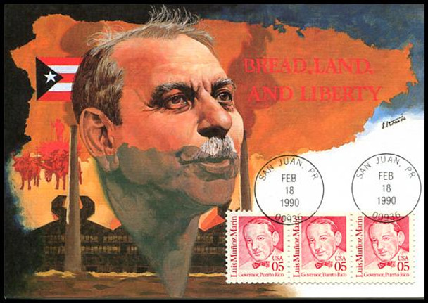 2173 / 5c Luis Muñoz Marin First Governor of Puerto Rico : Great Americans Series 1990 Fleetwood Maximum Card