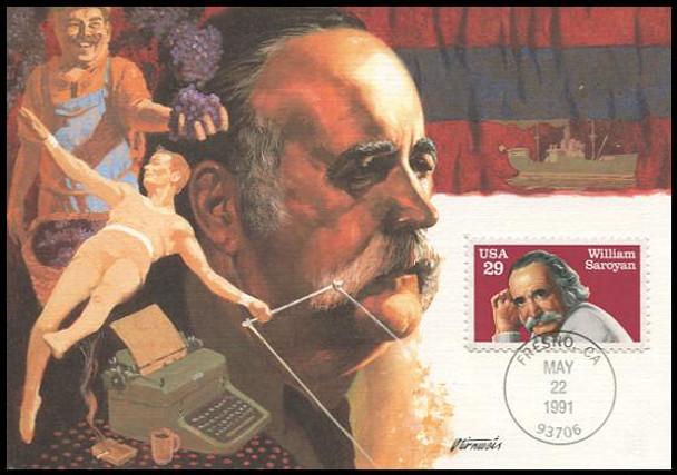 2538 / 29c William Saroyan Literary Arts Series 1991 Fleetwood First Day of Issue Maximum Card