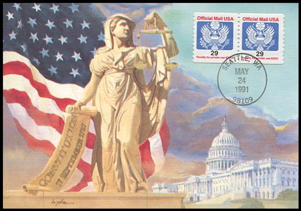 O145 / 29c Official Mail Coil Pair 1991 Fleetwood First Day of Issue Maximum Card