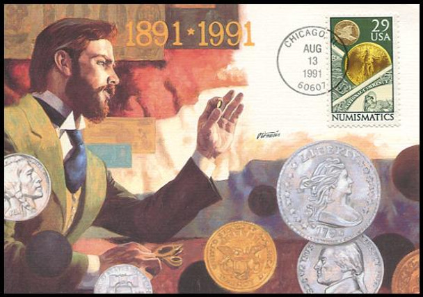 2558 / 29c Numismatics : Coin Collecting 1991 Fleetwood First Day of Issue Maximum Card