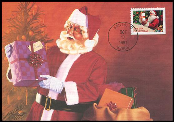 2582 - 2585 /  29c Santa Claus : Christmas Series Set Of 4 Fleetwood 1991 First Day of Issue Maximum Card