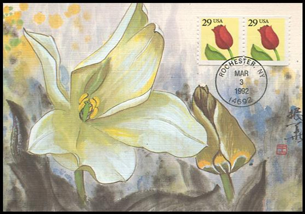 2526 / 29c Tulip Coil Pair 1992 Fleetwood First Day of Issue Maximum Card