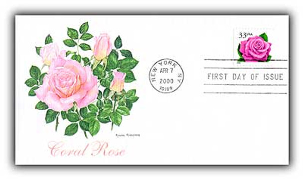 3052e / 33c Coral Pink Rose 2000 Fleetwood FDC