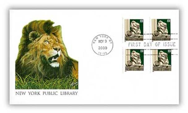 3447 / 10c New York Public Library Lion Coils 2000 Fleetwood FDC