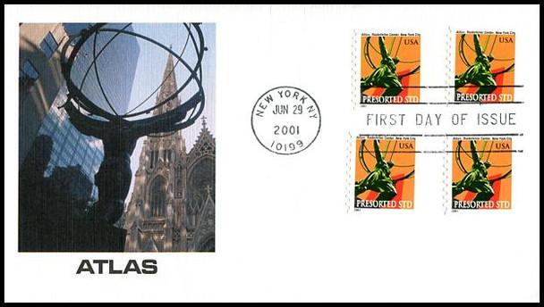 3520 / 10c Atlas Statue Non-Denominated PSA Coils 2001 Fleetwood FDC
