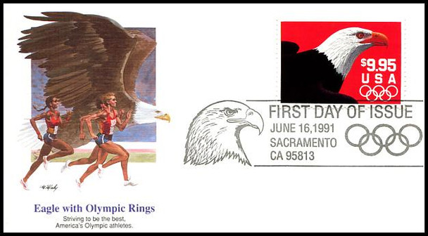 2541 / $9.95 Express Mail Eagle and Olympic Rings Domestic Rate 1991 Fleetwood FDC