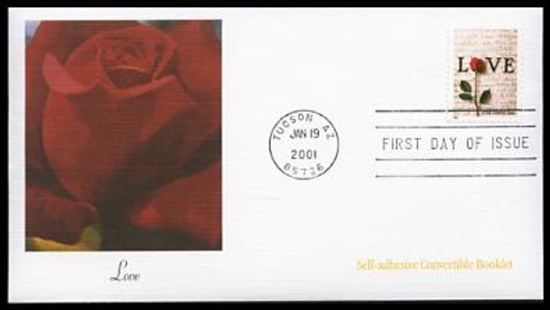 3496 / (Non-Denominated) 34c Rose & Love Letters Convertible Booklet Single : Love Stamp Series 2001 Fleetwood FDC