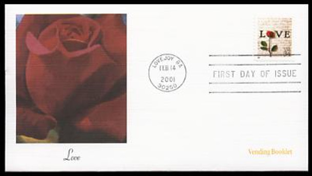 3498 / 34c Rose & Love Letters Vending Booklet Single Love Stamp Series 2001 Fleetwood First Day Cover