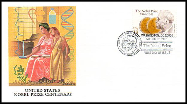 3504 / 34c Nobel Prize Centennial 2001 Fleetwood First Day Cover
