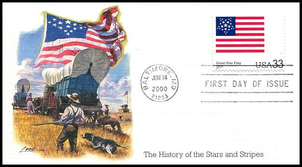 3403a - t / 33c Stars and Stripes : Historic American Flags Set of 20 Fleetwood 2000 FDCs