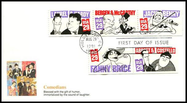 2562 - 2566 / 29c Comedians Strip of 3 and 2 From Booklet 1991 Fleetwood First Day Cover