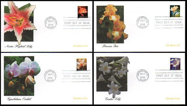 3462 - 3465 /  Flowers Non-Denominated 34c Self-adhesive Coil Set of 4 Fleetwood 2000 FDCs