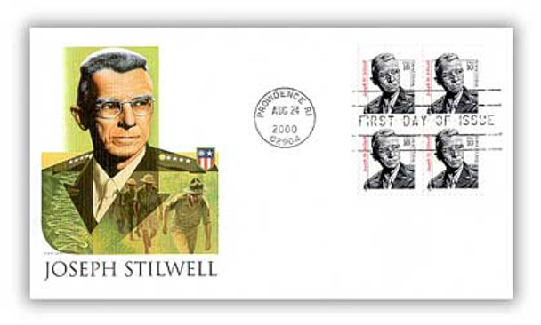 3420 / 10c Joseph W. Stilwell : General, U.S. Army Block of 4 Fleetwood 2000 FDC