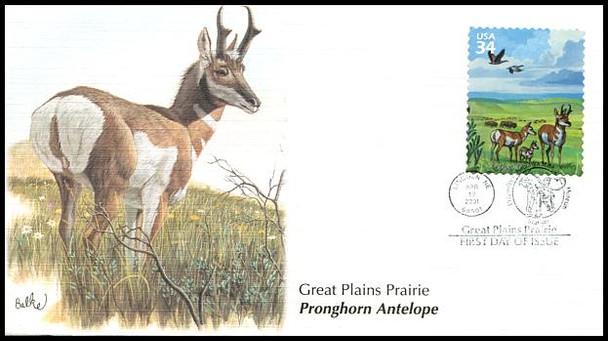 3506a-j / 32c Great Plains Prairie : Nature of America Series Set of 10 Fleetwood 2001 FDCs