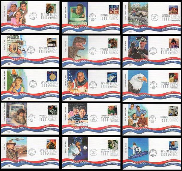 3191a-o / 33c Celebrate The Century ( CTC ) 1990s Set of 15 Fleetwood 2000 FDCs