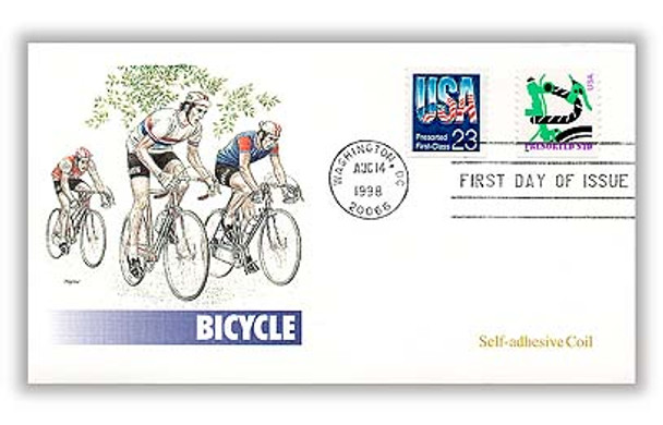 3228 / Green Bicycle 10c Non-Denominated Presorted PSA Coil (BEP) 1998 Fleetwood FDC
