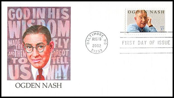 3659 / 37c Ogden Nash : Humorist 2002 Fleetwood First Day Cover