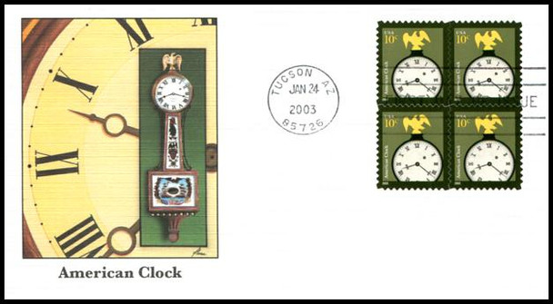 3757 / 10c American Clock Block of 4 Fleetwood 2003 First Day Cover