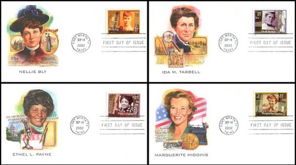 3665 - 3668 / 37c Women Journalist PSA Set of 4 Fleetwood 2002 First Day Covers
