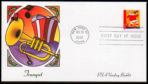3825 - 3828 / 37c Holiday Music Makers PSA Vending Booklet Singles Set of 4 : Christmas Series Fleetwood 2003 First Day Covers