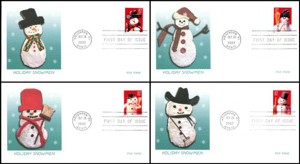 3676 - 3679 / 37c Snowmen PSA Set of 4 Fleetwood 2002 First Day Covers