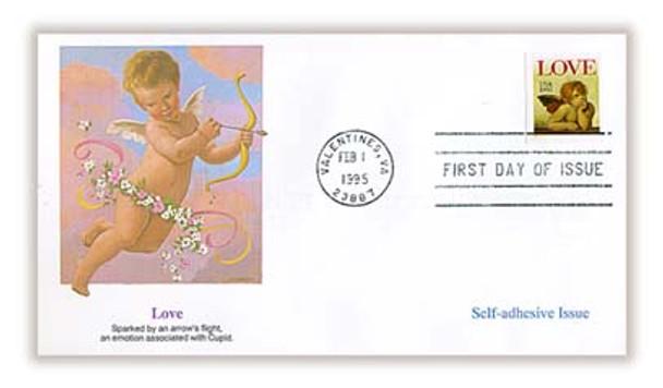 2949 / Love : Cherub 32c Non - Denominated Self - Adhesive Issue / Love Stamp 1995 Fleetwood FDC