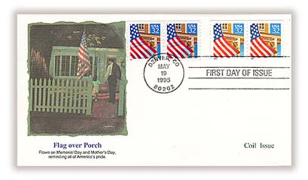 2913 - 2914 / 32c Flag over Porch Coil Pairs Combination 1995 Fleetwood FDC