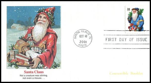 3537a - 3540a / 34c Holiday Santas : Christmas Series PSA Convertible Booklet Singles Set of 4 Fleetwood 2001 FDCs
