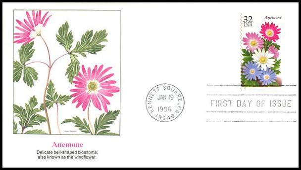 3025 - 3029 / 32c Winter Garden Flowers Set of 5 Fleetwood 1996 FDCs