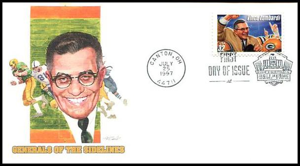 3143 - 3146 / 32c Legendary Football Coaches : Canton, OH Hall of Fame Postmark Set of 4 Fleetwood 1997 FDCs