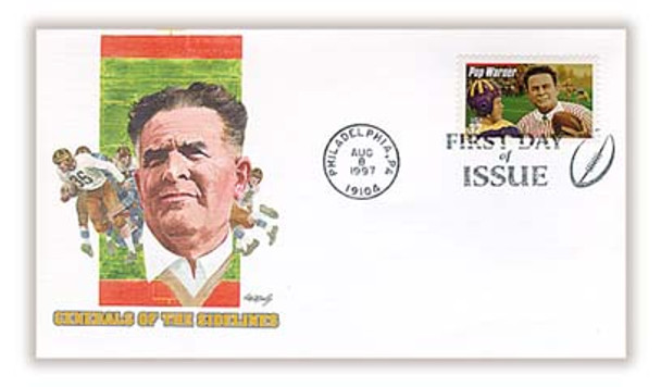 "3149 / 32c Glenn ""Pop"" Warner : Legendary Football Coach : Philadelphia, PA Postmark Fleetwood 1997 FDC"