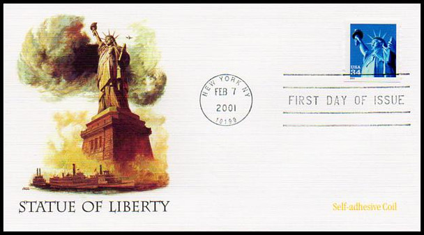 3476 / 3477 / 3485 / 34c Statue of Liberty Set of 3 Fleetwood 2001 FDCs