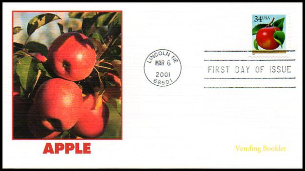 3493 - 3494 / 34c Apples and Oranges Vending Booklet Singles Set of 2 Fleetwood 2001 FDCs
