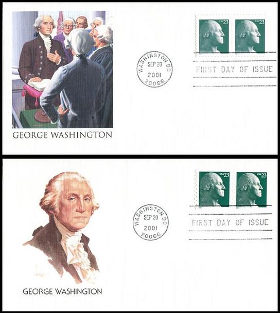 3468a / 3475a / 23c George Washington Set of 2 Fleetwood 2001 FDCs