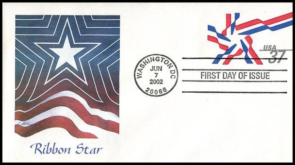 U649 / 37c Ribbon Star 6¾  Postal Stationery Envelope 2002 Fleetwood FDC