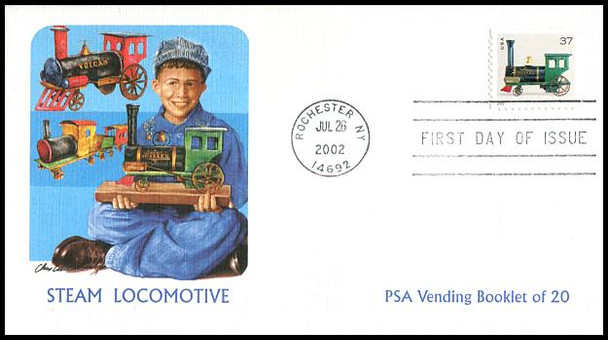 3642 - 3645 / 37c  Antique Toys PSA Vending Booklet Set of 4 Fleetwood 2002 First Day Covers