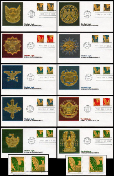 3792 - 3801 / Non-Denominated (25c) Presorted Eagle PSA Coil Set of 10 with PNC # S1111111 on 2 Covers Fleetwood 2003 FDCs