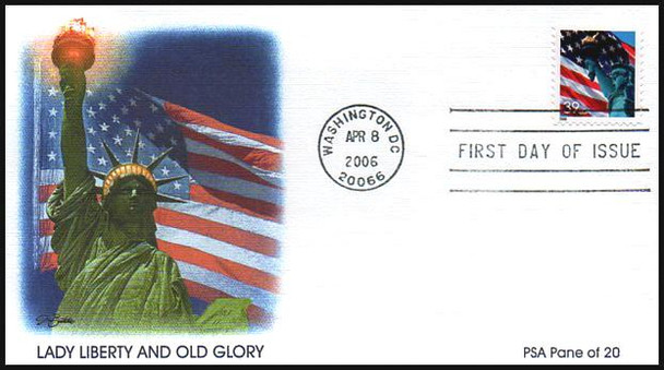 3978 - 3985a / 39c Statue of Liberty and Flag Set of 4 Fleetwood 2006 FDCs