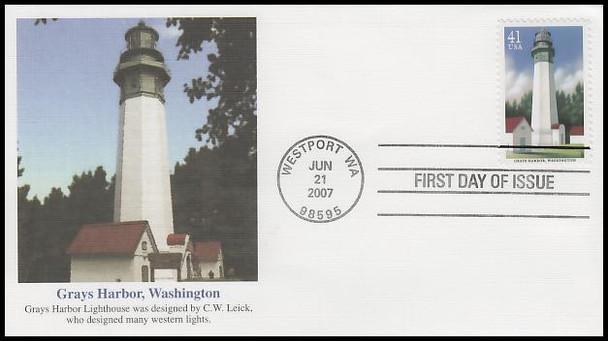 4146 - 4150 / 41c Pacific Coast Lighthouses Set of 5 Fleetwood 2007 FDCs