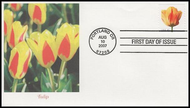 4166 - 4175 / 41c Beautiful Blooms Coil Singles Set of 10 Fleetwood 2007 FDCs