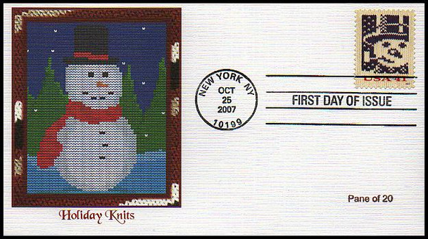 4207b - 4210b / 41c Holiday Knits : Holiday Celebration Series Singles from Pane of 20 Set of 4 Fleetwood 2007 FDCs