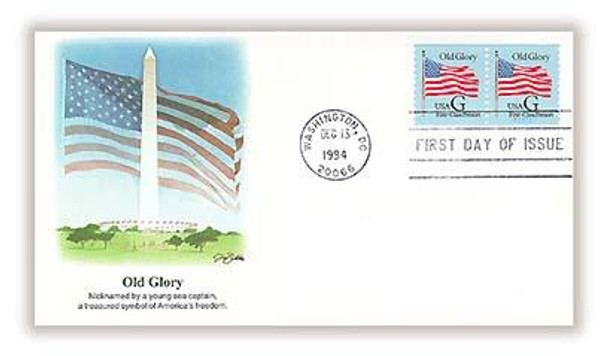 2888 / G - Rate ( 25c ) Old Glory First-Class Presort Rate Coil Pair 1994 Fleetwood FDC