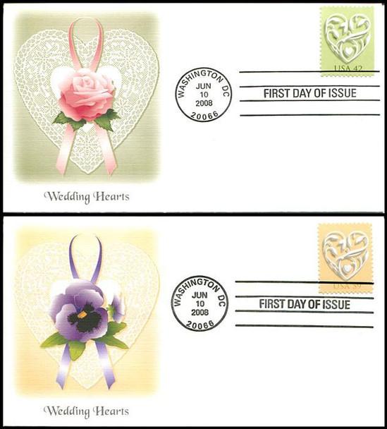 4271 - 4272 / 42c and 59c Wedding Hearts Set of 2 Fleetwood 2008 FDCs