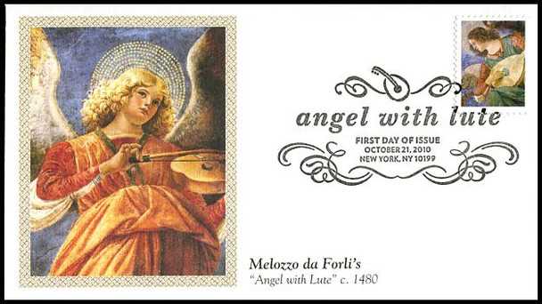 4477 / 44c Angel with Lute : Christmas Series Fleetwood 2010 First Day Cover
