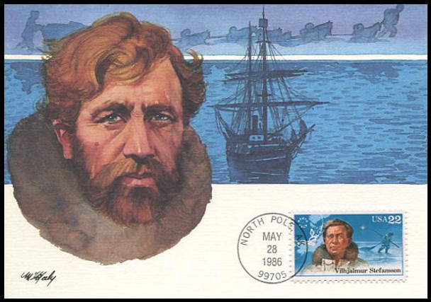 2220 - 2223 / 22c Arctic Explorers Set of 4 Fleetwood 1986 First Day of Issue Maximum Card